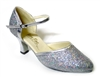 Style 9621 Silver Sparklenet & Silver Trim - Ladies Dance Shoes | Blue Moon Ballroom Dance Supply