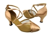 Style 9622 Brown Satin & Gold Mesh - Ladies Dance Shoes | Blue Moon Ballroom Dance Supply