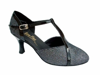 Style 9625 Black Sparklenet & Black Trim - Ladies Dance Shoes | Blue Moon Ballroom Dance Supply