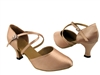 Style 9691 Light Brown Satin - Ladies Dance Shoes | Blue Moon Ballroom Dance Supply