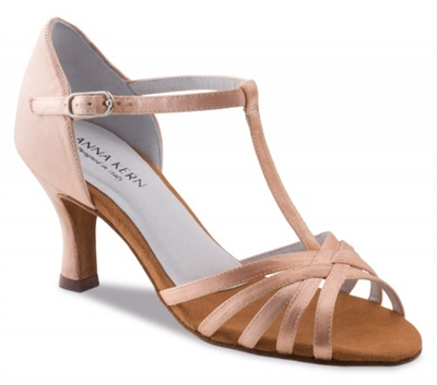 Style AK 470-60 Flesh Satin - Anna Kern Dance Shoes | Blue Moon Ballroom Dance Supply