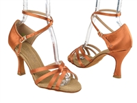 Style C1606 Dark Tan Satin Vegan - Ladies Dance Shoes | Blue Moon Ballroom Dance Supply