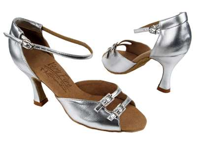 Style C1620 Silver Leather - Ladies Dance Shoes | Blue Moon Ballroom Dance Supply