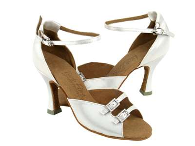 Style C1620 White Satin - Ladies Dance Shoes | Blue Moon Ballroom Dance Supply