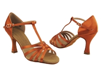 Style C16612 Dark Tan Satin & Flesh Mesh Vegan - Ladies Dance Shoes | Blue Moon Ballroom Dance Supply