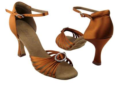 Style C1671B Dark Tan Satin & Stone - Ladies Dance Shoes | Blue Moon Ballroom Dance Supply