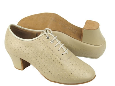 Style C2001 Beige Perforated Leather - Women's Dance Shoes | Blue Moon Ballroom Dance Supply