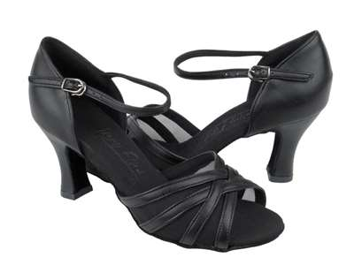 Style C6027 Black Leather & Black Mesh - Ladies Dance Shoes | Blue Moon Ballroom Dance Supply