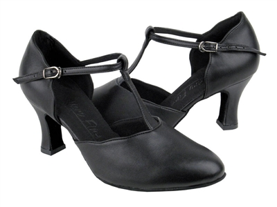 Style C6819 Black Leather - Ladies Dance Shoes | Blue Moon Ballroom Dance Supply
