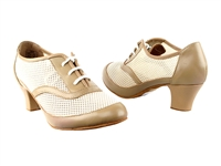 Style CD1108 Nude Leather Cuban Heel