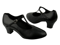 Style CD1111 Black Leather Cuban Heel - Ladies Dance Shoes | Blue Moon Ballroom Dance Supply