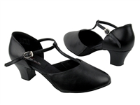 Style CD1113 Black Leather Cuban Heel - Ladies Dance Shoes | Blue Moon Ballroom Dance Supply