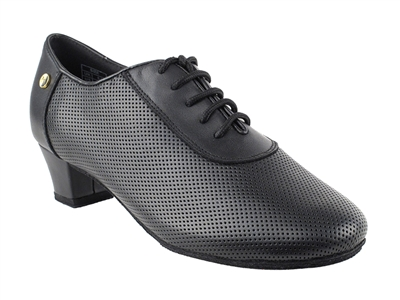 Style CD1122DB Black Perforated Leather - Women's Dance Shoes | Blue Moon Ballroom Dance Supply