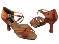 Style CD2003 Dark Tan Satin - Women's Dance Shoes | Blue Moon Ballroom Dance Supply