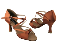 Style CD2013 Dark Tan Satin - Women's Dance Shoes | Blue Moon Ballroom Dance Supply