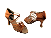 Style CD2017 Dark Tan Satin - Women's Dance Shoes | Blue Moon Ballroom Dance Supply