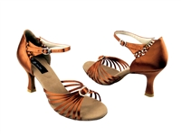 Style CD2043 Dark Tan Satin - Women's Dance Shoes | Blue Moon Ballroom Dance Supply