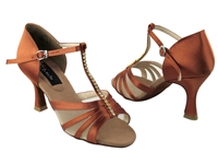 Style CD2050 Dark Tan Satin - Women's Dance Shoes | Blue Moon Ballroom Dance Supply
