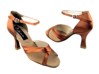 Style CD2076 Dark Tan Satin - Women's Dance Shoes | Blue Moon Ballroom Dance Supply