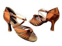 Style CD2078 Dark Tan Satin - Women's Dance Shoes | Blue Moon Ballroom Dance Supply