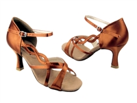 Style CD2088 Dark Tan Satin - Women's Dance Shoes | Blue Moon Ballroom Dance Supply