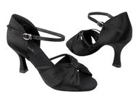 Tan or Black Satin Latin Salsa Very Fine Rhinestone Ballroom Dance Shoes CD2803
