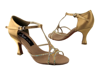 CD2804 Tan Satin - Women's Dance Shoes | Blue Moon Ballroom Dance Supply