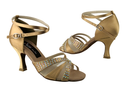 CD2805 Tan Satin - Women's Dance Shoes | Blue Moon Ballroom Dance Supply