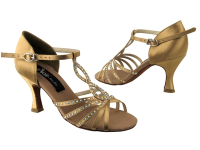 CD2806 Tan Satin - Women's Dance Shoes | Blue Moon Ballroom Dance Supply