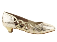 Style CD5501 Gold Leather Cuban Heel