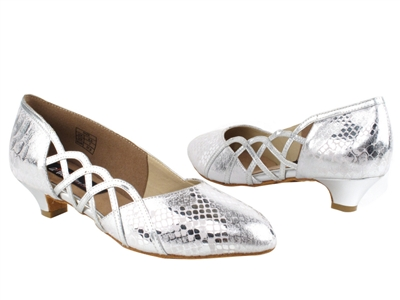 Style CD5501 Silver Leather Cuban Heel - Ladies Dance Shoes | Blue Moon Ballroom Dance Supply