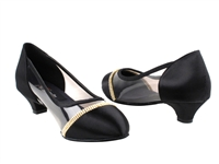 Style CD5502 Black Satin Cuban Heel