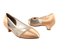 Style CD5502 Tan Satin Cuban Heel