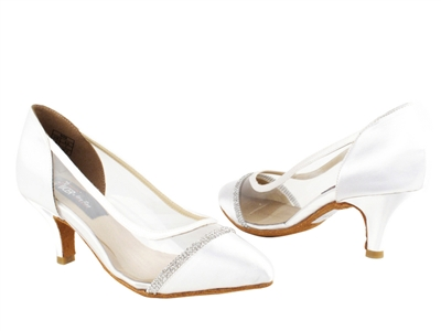 Style CD5502 White Satin - Ladies Dance Shoes | Blue Moon Ballroom Dance Supply