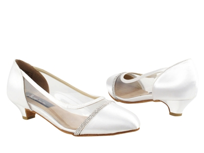 Style CD5502 White Satin Cuban Heel - Ladies Dance Shoes | Blue Moon Ballroom Dance Supply