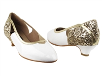 Style CD5503 Gold Sparkle & White Patent Cuban Heel