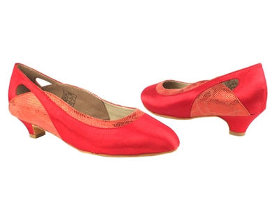 Style CD5505 Red Satin Cuban Heel - Ladies Dance Shoes | Blue Moon Ballroom Dance Supply