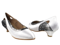 Style CD5505 White Satin Cuban Heel