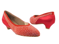 Style CD5506 Red Suede & Red Satin Cuban Heel - Ladies Dance Shoes | Blue Moon Ballroom Dance Supply