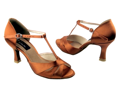 Style CD6200 Dark Tan Satin - Women's Dance Shoes | Blue Moon Ballroom Dance Supply