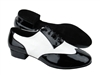 Style CM100101 Black Patent & White Leather - Men's Dance Shoes | Blue Moon Ballroom Dance Supply