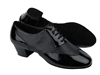 Style CM100101 Black Patent & Black Leather & Latin Heel | Blue Moon Ballroom Dance Supply