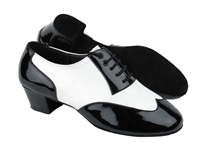 Style CM100101 Black Patent & White Leather & Latin Heel | Blue Moon Ballroom Dance Supply
