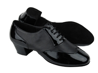 Style CM100101W Black Patent & Black Leather & Latin Heel | Blue Moon Ballroom Dance Supply