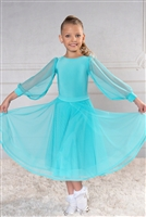 Style DA Girls Ballroom Dance Long Mesh Sleeve Bodysuit | Blue Moon Ballroom Dance Supply