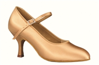 Style DA Brooklyn Tan Satin Closed Toe Shoe - Shoes | Blue Moon Ballroom Dance Supply