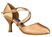 Style DA Charlotte Lt Tan Satin Closed Toe Shoe - Shoes | Blue Moon Ballroom Dance Supply