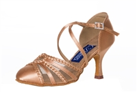Style DA Columbia Lt Tan Satin Closed Toe Shoe - Shoes | Blue Moon Ballroom Dance Supply