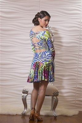 Style D602 - Short Simple Dress w/ Back Stone Accent | Blue Moon Ballroom Dance Supply