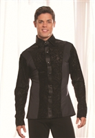 Style MS22 Collared Shirt w/Velvet Inset - Men's Dancewear | Blue Moon Ballroom Dance Supply